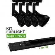 Kit Furlight Trilho 100cm com 4 Spots PAR30 Preto