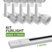 Kit Furlight Trilho 100cm com 5 Spots PAR20 Branco