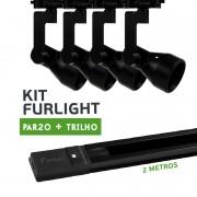 Kit Furlight Trilho 200cm com 4 Spot PAR20 Preto