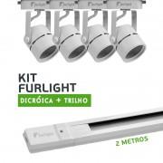 Kit Furlight Trilho 200cm com 4 Spots Dicróica/PAR16 Branco