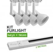 Kit Furlight Trilho 200cm com 4 Spots PAR30 Branco