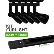Kit Furlight Trilho 200cm com 5 Spot PAR20 Preto