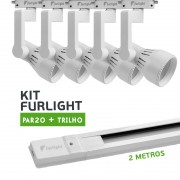 Kit Furlight Trilho 200cm com 5 Spots PAR20 Branco