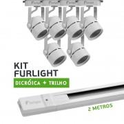 Kit Furlight Trilho 200cm com 6 Spots Dicróica/PAR16 Branco