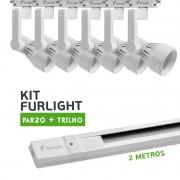 Kit Furlight Trilho 200cm com 6 Spots PAR20 Branco