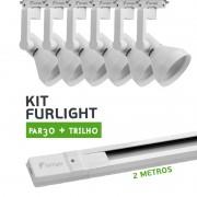 Kit Furlight Trilho 200cm com 6 Spots PAR30 Branco