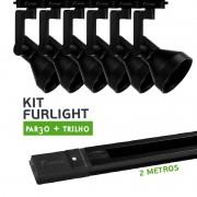 Kit Furlight Trilho 200cm com 6 Spots PAR30 Preto