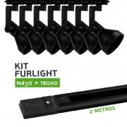 Kit Furlight Trilho 200cm com 7 Spots PAR30 Preto