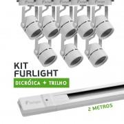 Kit Furlight Trilho 200cm com 8 Spots Dicróica/PAR16 Branco