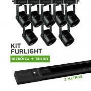 Kit Furlight Trilho 200cm com 8 Spots Dicróica/PAR16 Preto