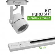 Kit Furlight Trilho 50cm com 1 Spot Dicróica/PAR16 Branco