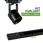 Kit Furlight Trilho 50cm com 1 Spot Dicróica/PAR16 Preto