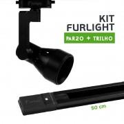 Kit Furlight Trilho 50cm com 1 Spot PAR20 Preto