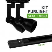 Kit Furlight Trilho 50cm com 2 Spot PAR20 Preto