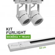 Kit Furlight Trilho 50cm com 2 Spots Dicróica/PAR16 Branco