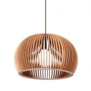 Pendente Bella LB002-OUTLET Wood 1L E27 Bivolt Ø30x20cm Cromado/Bege