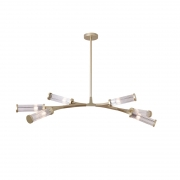 Pendente LED Bella HM001 Floresta 6L G9 150W Bivolt IP20 1000x300x600mm Dourado/Transparente