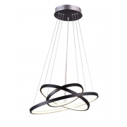Pendente LED Casual Light Quality QPD1303-PT-OUTLET Montreal 3 Aros 89W 3000K Bivolt Ø600+Ø500+Ø400x20mm Preto