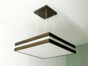 Pendente Quadrado LampLuz 231PD-TRIP-M Acrílico Moldura Madeira 1xE27 90x200X200mm