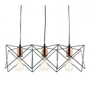 Pendente Casual Light Quality PD644 Tine 3L E27 550x190mm Preto/Cobre