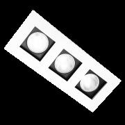 Spot Incolustre 700.14 Down Slim 3L Dicróica /PAR16 GU10 250x100mm Fundo Preto