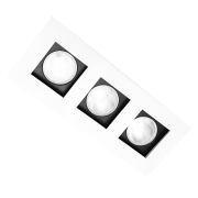 Spot Incolustre 700.32 Down Slim 3L Dicróica /PAR16 GU10 250x100mm Todo Preto