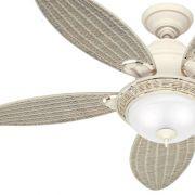 Ventilador de Teto Hunter Fan 50058 Caribbean Breeze 5 Pás 76W 60Hz 161Rpm 127V Ø1370x457,2mm Branco Texturado