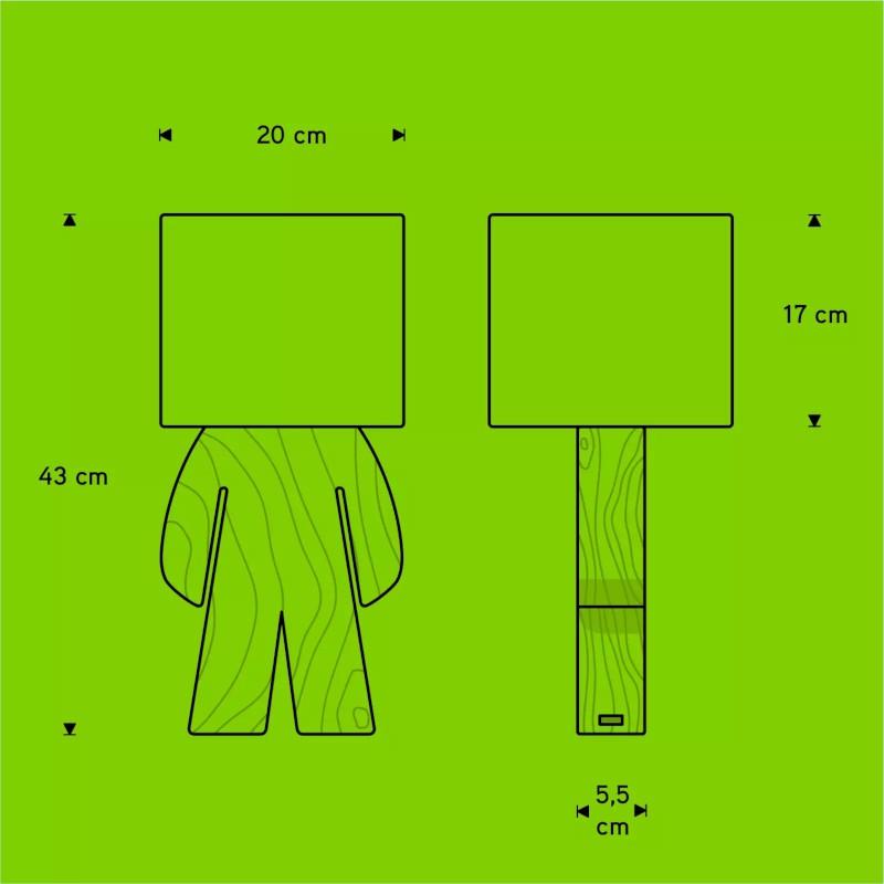 Abajur Carambola AFDV Fred 1L E27 Bivolt 430x200x200mm Verde