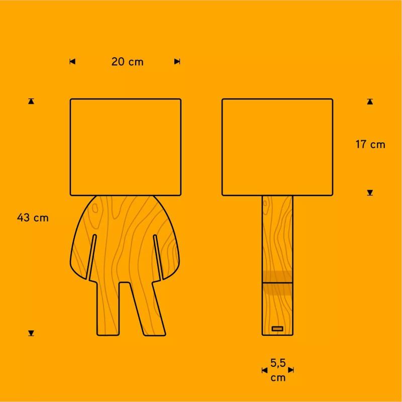 Abajur Carambola ALSA Lisa 1L E27 Bivolt 430x200x200mm Amarelo