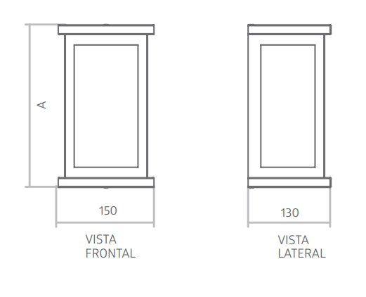 Arandela Acend 02957/02958/02959/02960 Apolo Slim Retangular C/ Difusor Vidro 1L E27 150x250x130mm