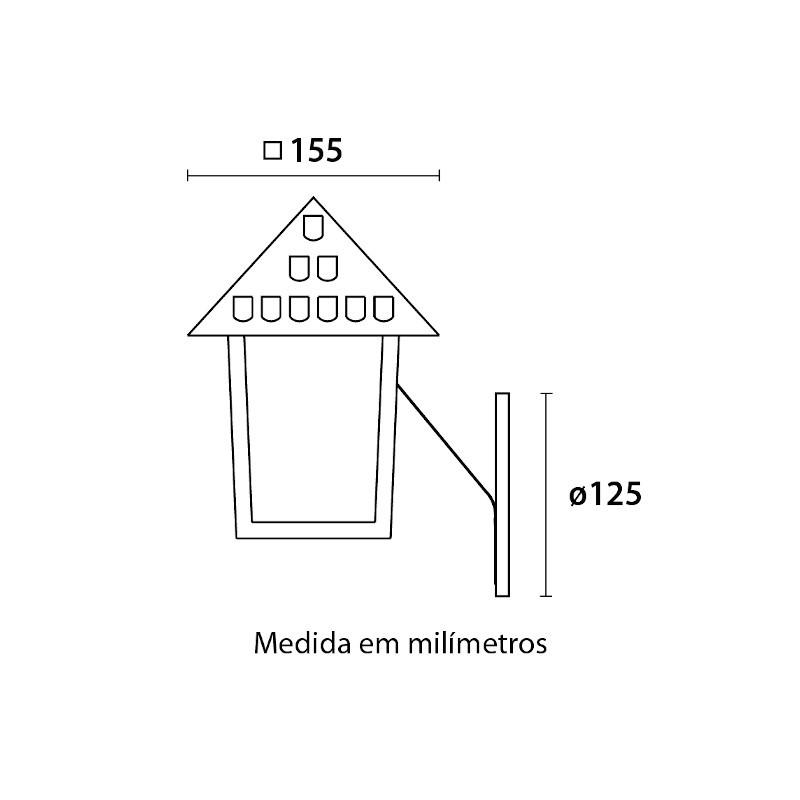 Arandela Blumenau 100700-05 Colonial Quadrada Vidro Pontilhado 1 E27 Bivolt 250x200x155mm - Cobre