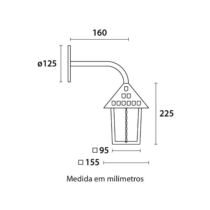 Arandela Blumenau 112900-01 Colonial Quadrada Braço 45G c/ Enfeite Vidro Pontilhado 1 E27 Bivolt 350x240x155mm - Preto