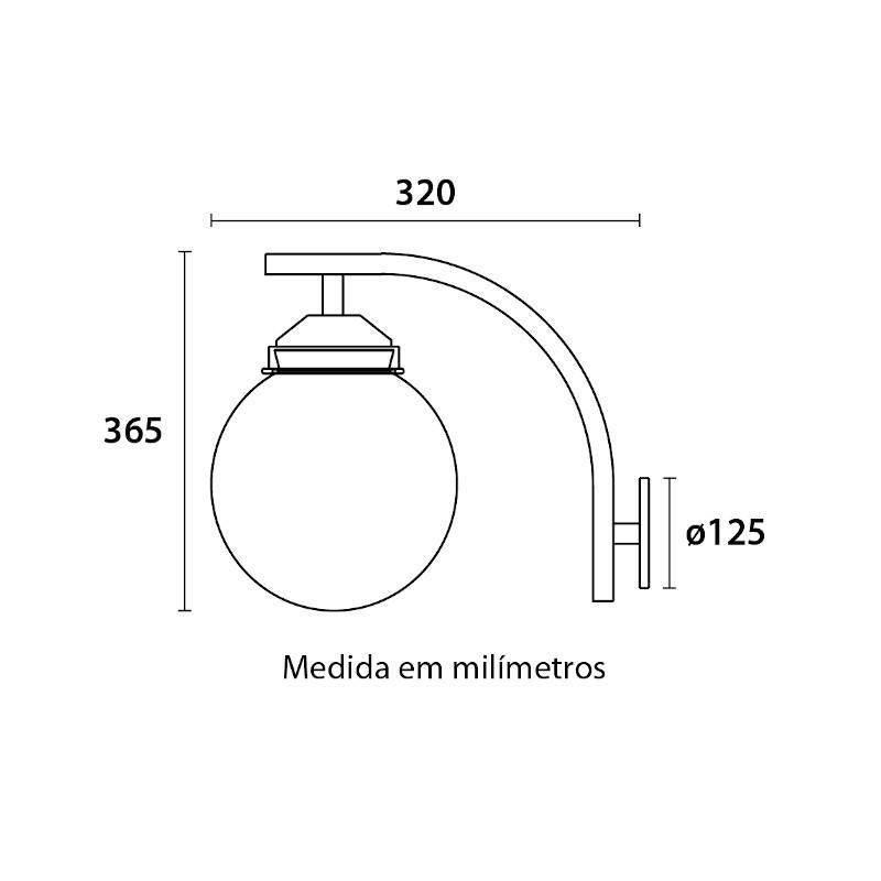 Arandela Blumenau 183099 Colonial Globo Ø300 1 E27 Bivolt 300x320x365mm