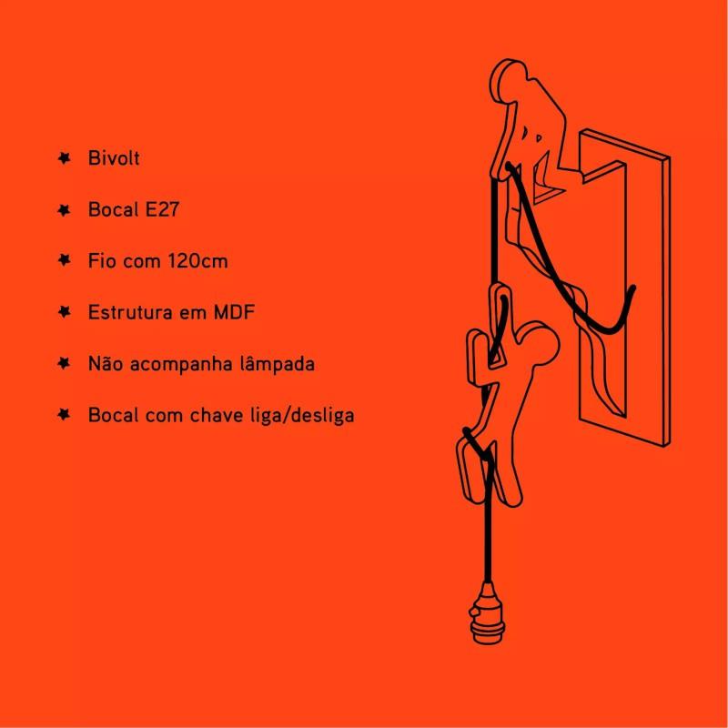 Arandela Carambola ARH Help 1L E27 Bivolt 550x120x235mm Preto