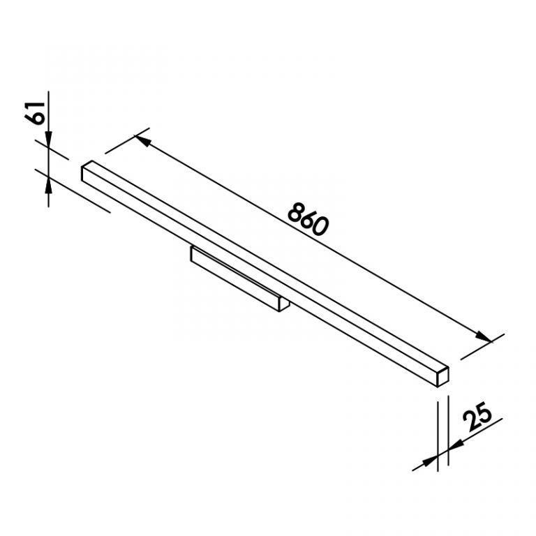 Arandela LED Newline 646LED3 Fit 24W 3000K Bivolt 860x61x25mm