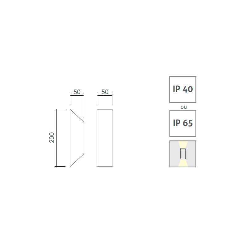 Arandela LED Power Lume APR01-IP65 Facho Duplo 2W Bivolt Ø200x50x50mm