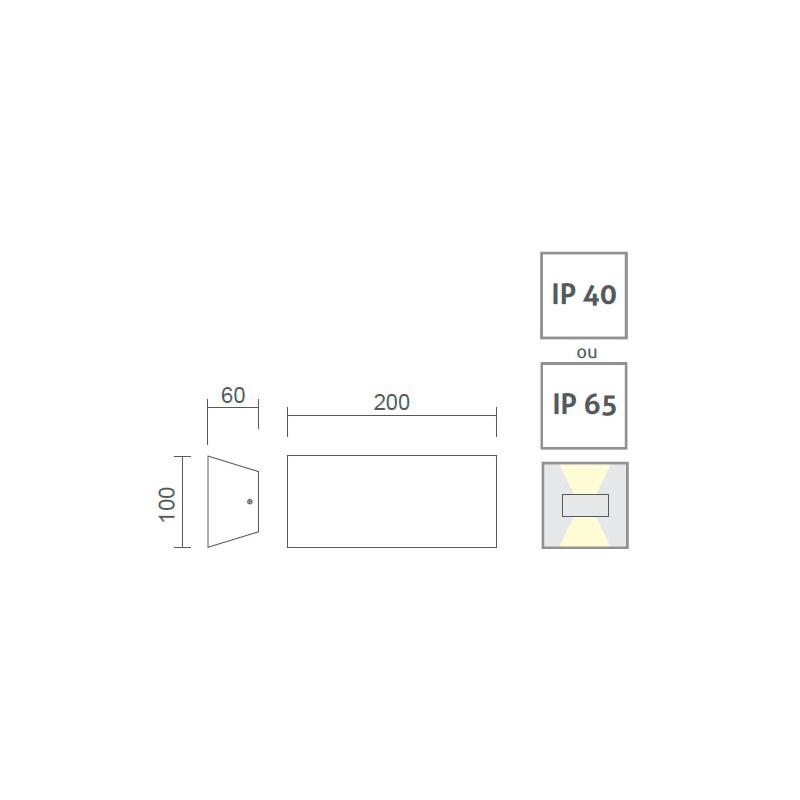 Arandela LED Power Lume APR03-IP65 Facho Duplo 4x2 8W 24V Ø200x100x60mm
