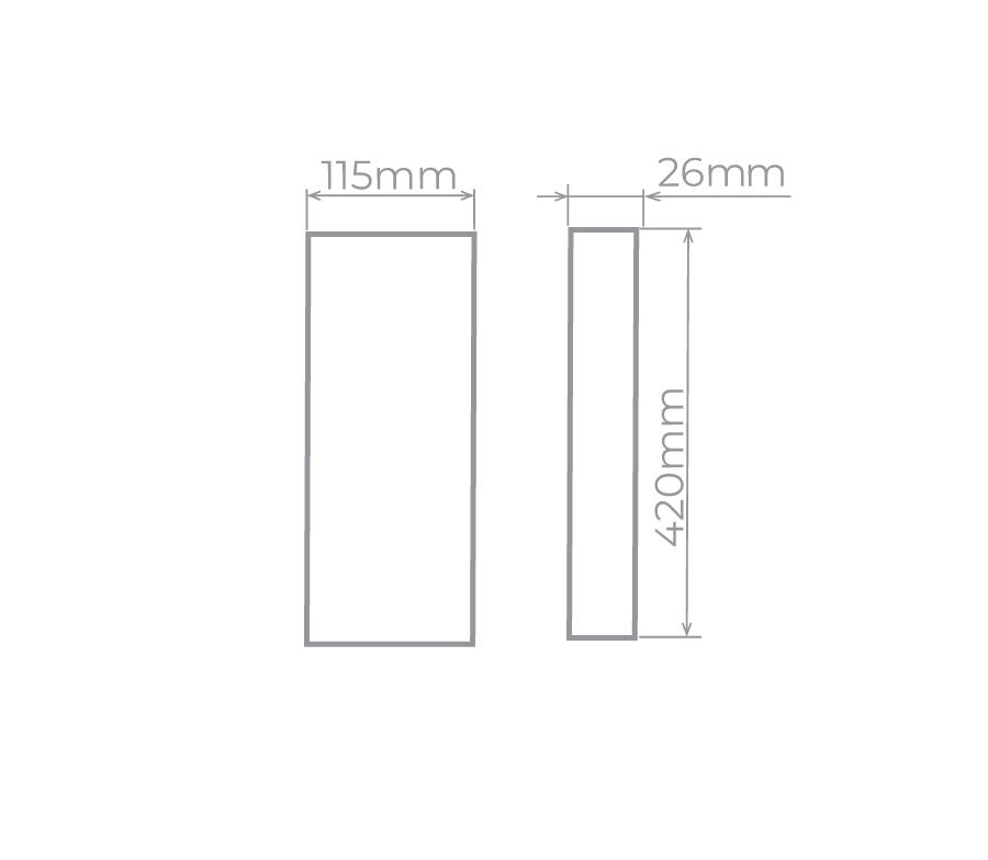 Arandela LED Stella STH9740PTO/30 Reflex 42cm 12W 3000K IP65 Bivolt 26x115x420mm - Preto