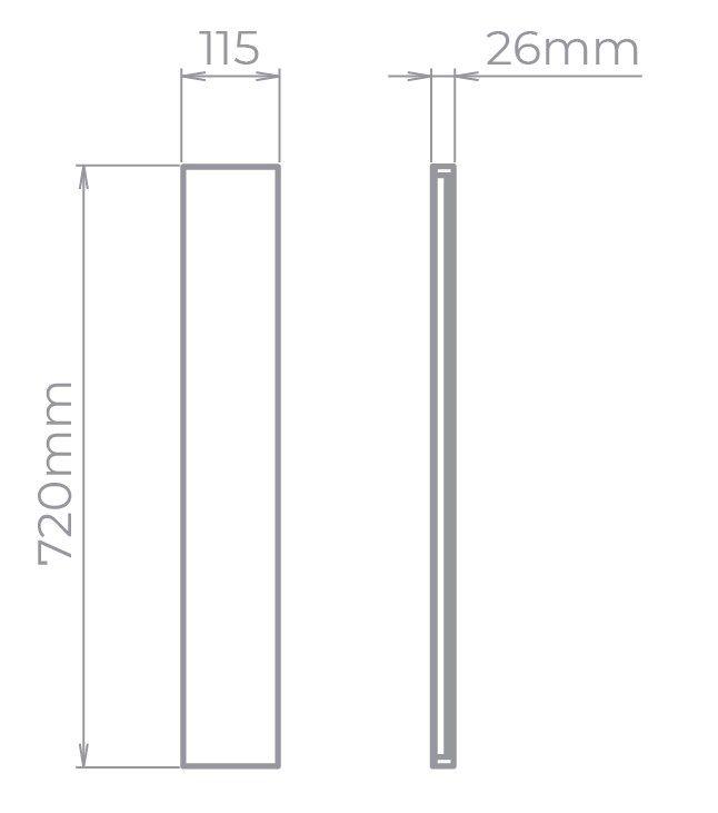 Arandela LED Stella STH9741BR/30 Reflex 72cm 20W 3000K IP65 Bivolt 26x720x115mm - Branco