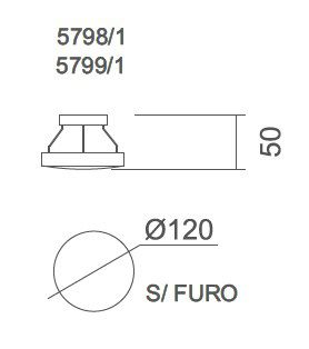 Arandela LED Usina 5798/1 Galáxia Redonda S/ Furo 5W 3000K 127V Ø120x50mm