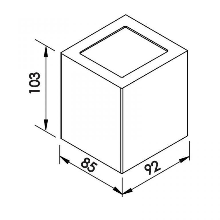 Arandela Newline 9576 Quadrada Externa 2 Fachos 1L Halopin G9 IP43 85x92x103mm