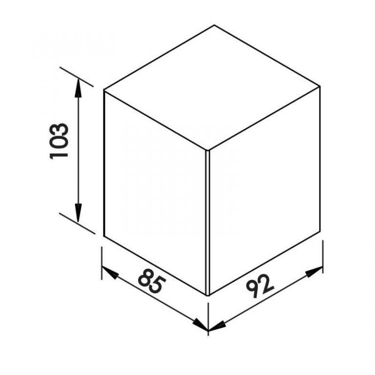 Arandela Newline 9578 Quadrada Externa 1 Facho 1L Halopin G9 IP43 85x92x103mm