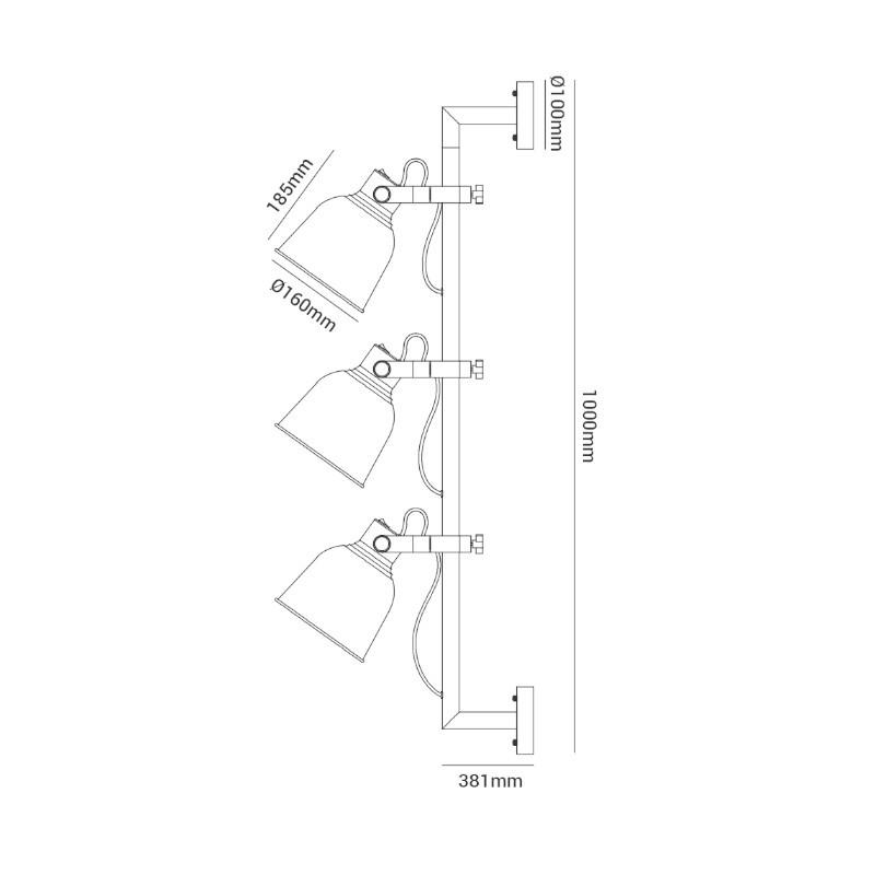 Arandela Spot Opus DN37585 Pixar 3L E27 IP20 Ø160x381x1000mm Cinza/Rose