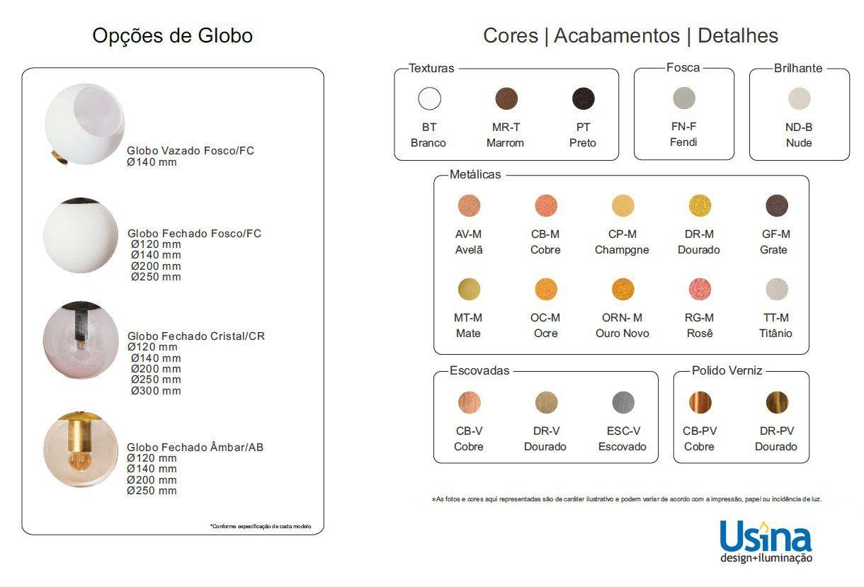 Arandela Usina 16411/14 Ball Redondo C/ Globo 1L G9 Ø140x450x190mm - Globo Ø140mm