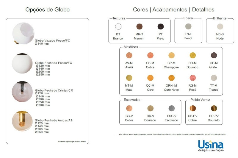 Arandela Usina 16610/1 Quiron Rabicho C/ Globo Ø200m 1 E27 Ø200x505x265mm