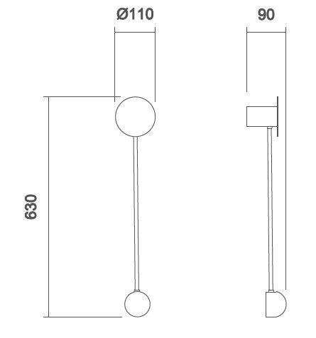 Arandela LED Usina 5797/70 Conchiglia 5W 3000K 127V Ø110x630x90mm