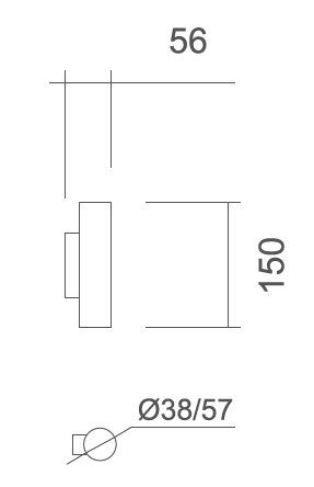 Arandela Usina 5805/1 Fini Retangular 1L Mini Dicroica MR11 Ø38x150x56mm