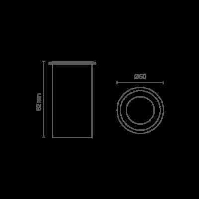 Balizador LED Romalux 10031 Redondo 1,8W 2700K IP66 Bivolt Ø50x82mm Prata