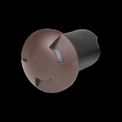 Balizador LED Romalux 10046 3 Fachos 0,7W 2700K IP66 Bivolt Ø60X92,5MM Marrom Corten