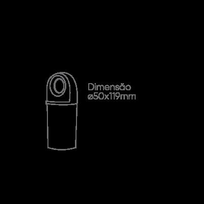 Balizador LED Romalux 10121 Foco 3W 2700K IP66 Bivolt Ø50x119mm Preto